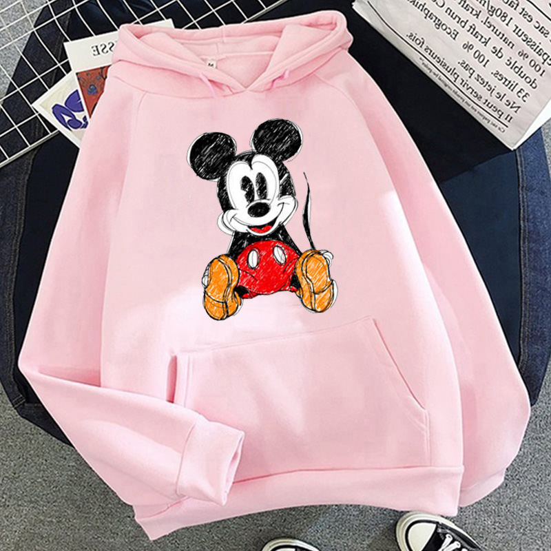 Disney 2021cartoon print sweatshirt women Funny hip hop Mickey Mouse print autumn and winter fashion Harajuku style hoodie women 22