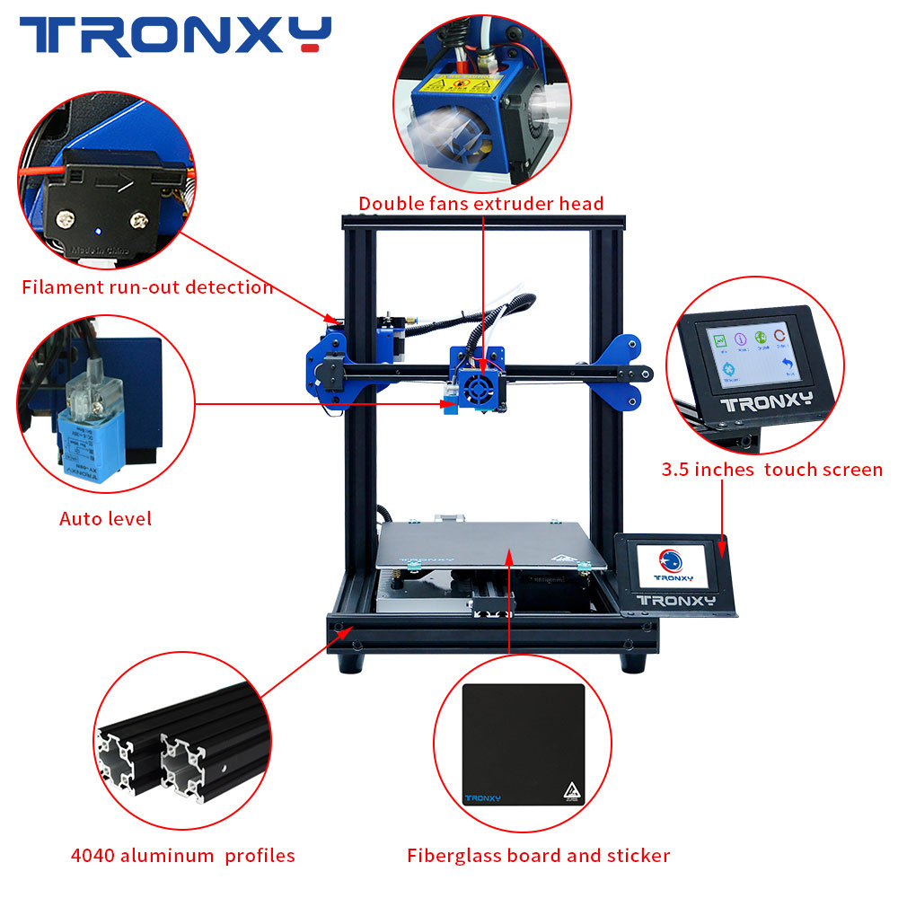 Image 5 - TRONXY 3D Printer XY 2 PRO 3D Printer Large Size I3 255*255 Hotbed V slot Resume Power Failure Printing FDM printing 3D Drucker3D Printers   -