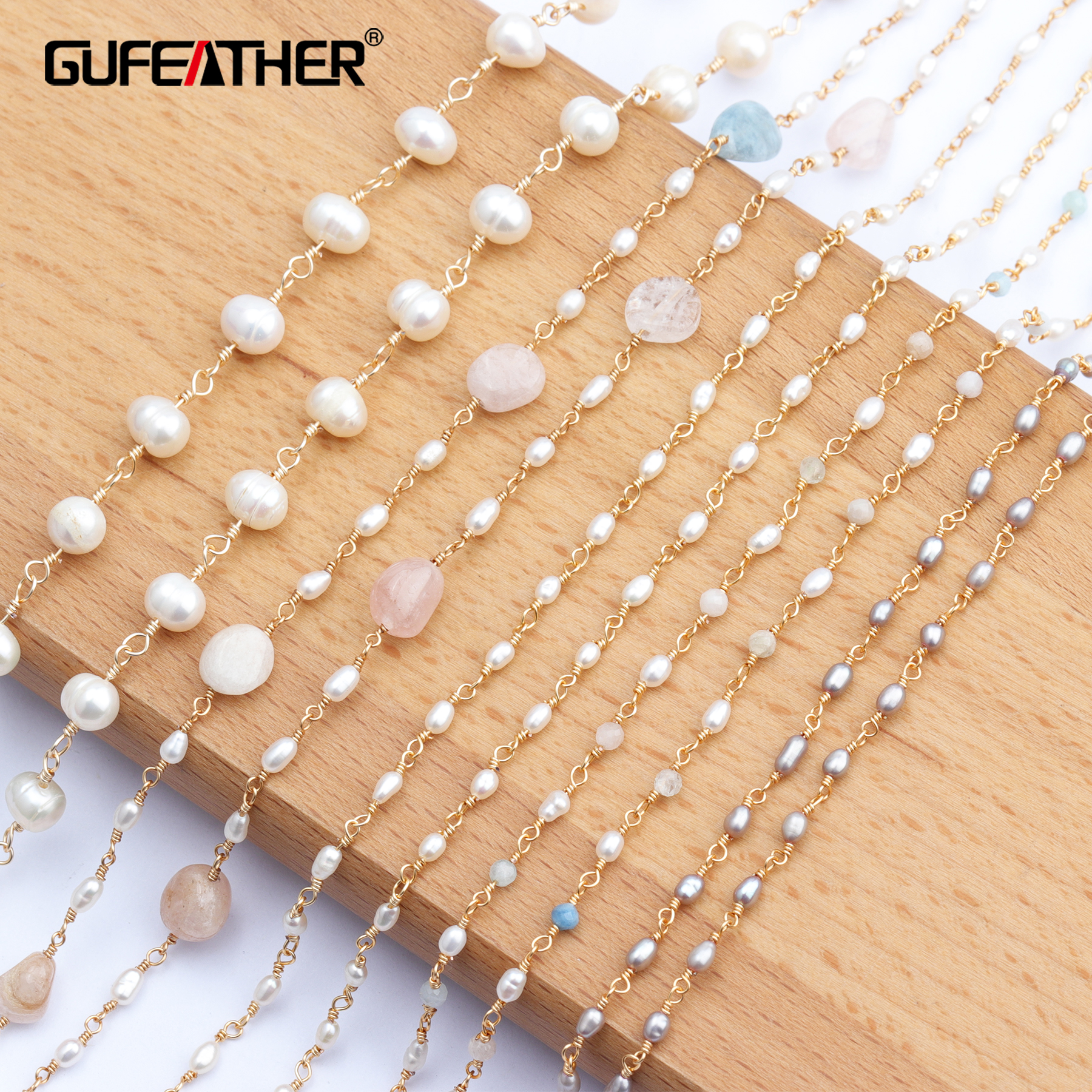 GUFEATHER C71,jewelry Accessories,diy Chain,18k Gold Plated,natural Stone Pearl,beads,jewelry Making,diy Chain Necklace,1m/lot