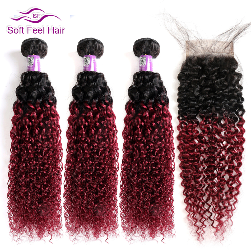 Image 4 - Soft Feel Hair Curly Bundles With Closure Brazilian Kinky Curly Hair With Closure Remy Weave Human Hair 3/4 Bundles With Closure-in 3/4 Bundles with Closure from Hair Extensions & Wigs