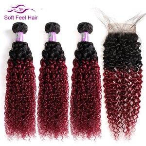 Image 3 - Yumuşak hissediyorum saç Kinky kıvırcık demetleri ile kapatma ile brezilyalı saç örgü demetleri ile kapatma Remy İnsan saç 3 demetleri ile kapatma