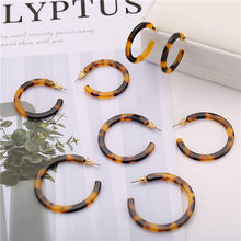 17KM Vintage Acetic Acid Leopard Print Hoop Earring For Women Resin C Shaped 4 Pair/set Brincos Statement Earrings Accessories(China)