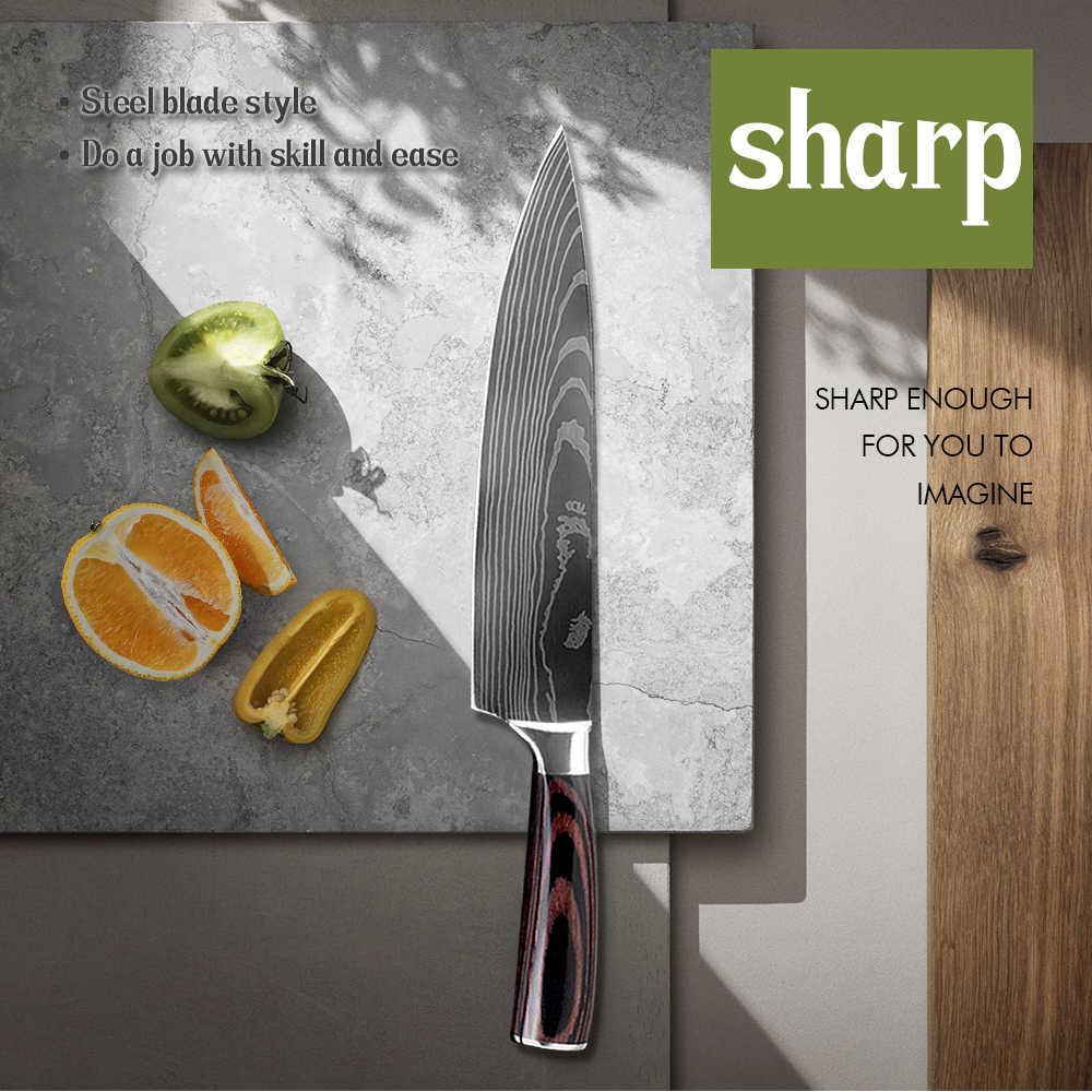 Damask Набор японских кухонных ножей шеф-повара, дамасский узор, 7CR17 высокоуглеродистая Нержавеющая сталь, острый универсальный инструмент Santoku