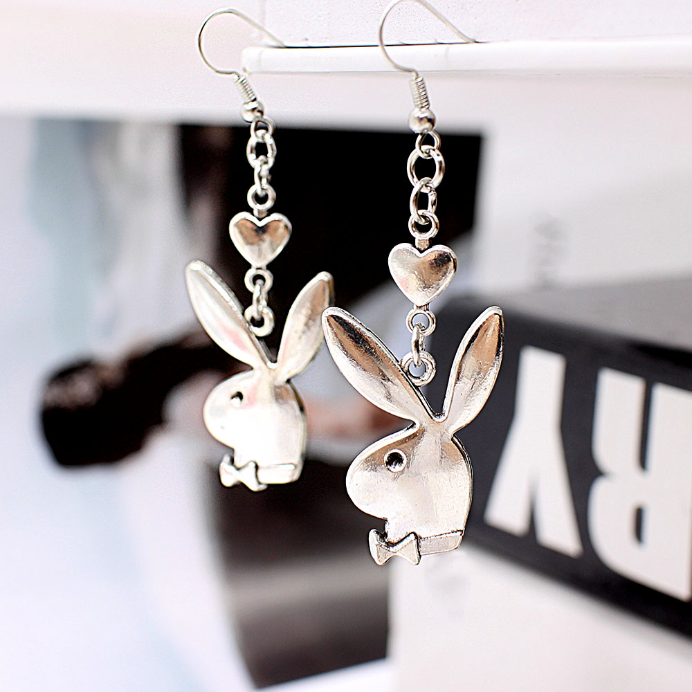 punk funny animals bunny dangle earring vintage hiphop rabbit head drop earrings for women girls gifts brincos para as mulheres 4
