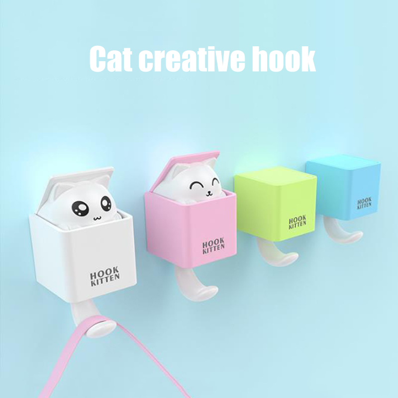 Creative Cute Cat Key Holder Wall Hook Handbag Coat Rack Plastic Housekeeper For Keys Hanger Home Decorative Wall Hooks Kitten