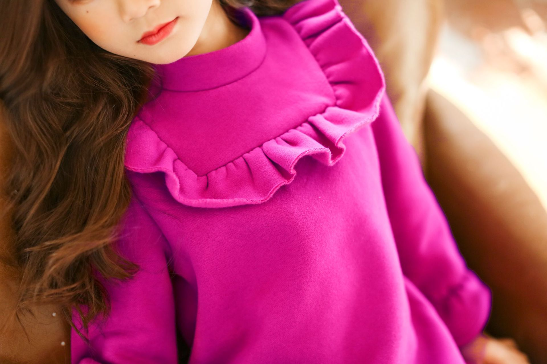 Girls Winter Dress 2019 New Fall Pink Raffle Warm Thick Dress Fashion Korean Long Sleeve Teen Clothes Back To School 4 15 Year in Dresses from Mother Kids