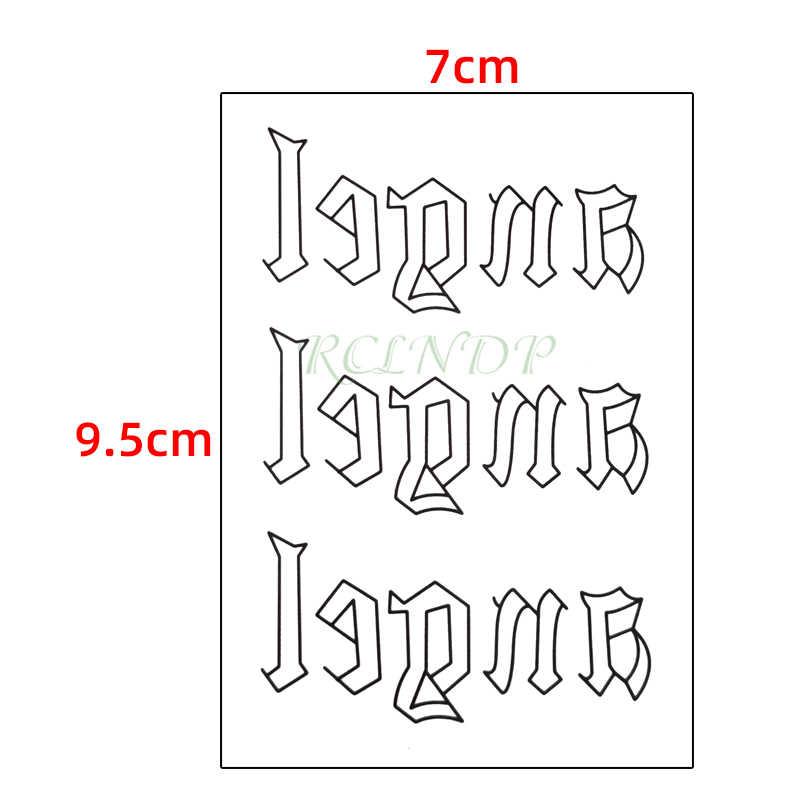 Wasserdicht Temporäre Tätowierung Aufkleber Schwarz Wort engel teufel Englisch Buchstaben auf Hals Handgelenk Flash Tatoo Gefälschte Tatto für Frau Männer