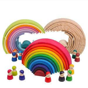 Image 1 - ของเล่นเด็กขนาดใหญ่Rainbow Stackerไม้ของเล่นสำหรับเด็กCreative Rainbow Building Blocks Montessoriของเล่นเพื่อการศึกษาเด็ก
