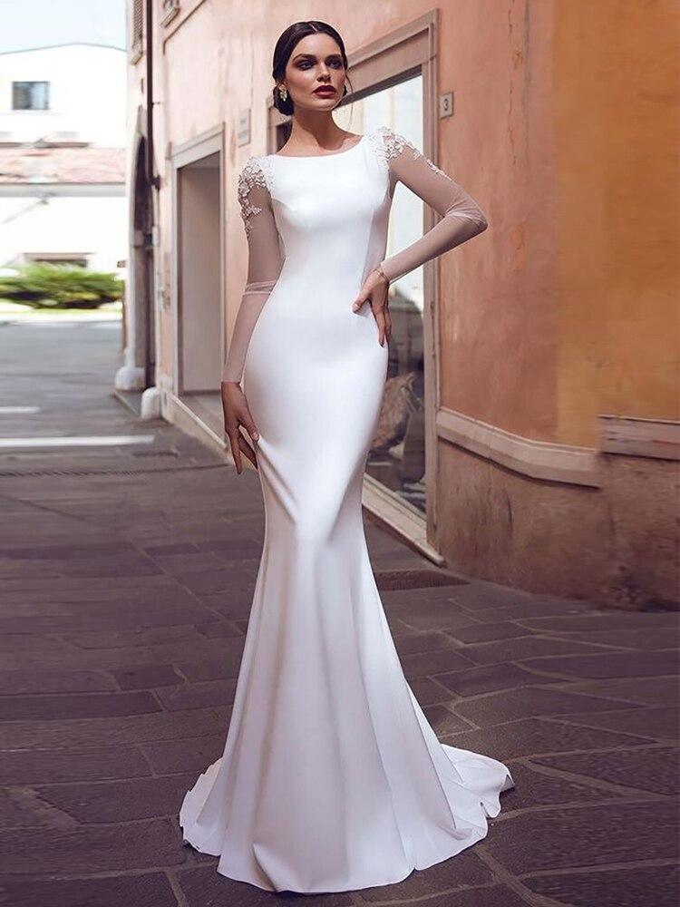 Verngo Bride Dresses Boho Lace Mermaid Simple Appliques Stain Vestidos-De-Novia
