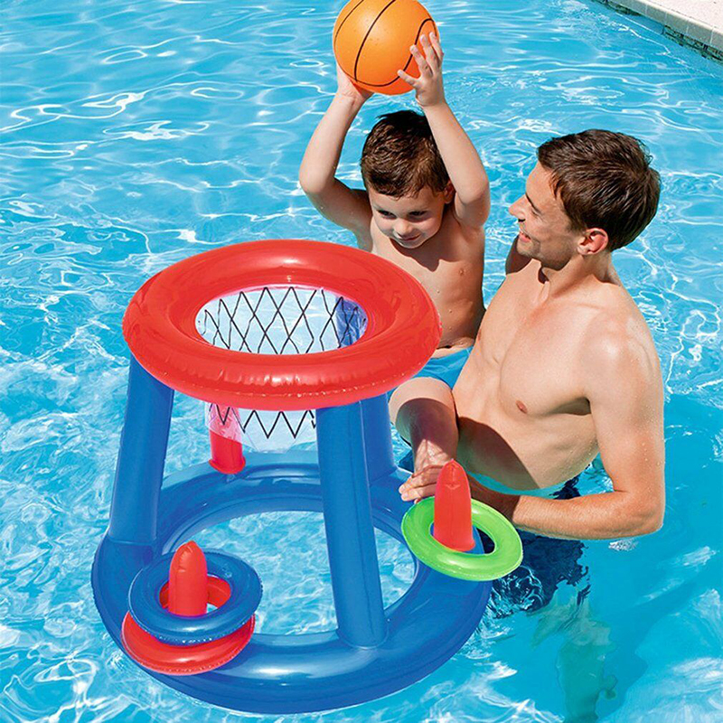New Water Basketball Childrens Inflatable Floating BasketBall Hoop Ring Toss Game Swimming Pool Toy Kids Water Sport