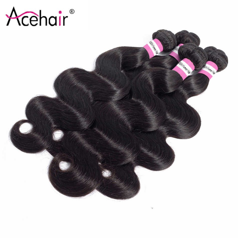 ACE Body Wave Bundles Remy Indian Hair Extensions 100 Human Hair Weave Bundles 8inch-30inch Natural Color Cabelo Humano