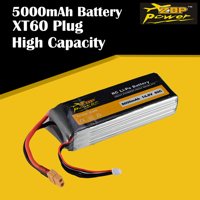 ZOP Power 14.8V 60C 5000mAh 4S Lipo Battery XT60 Plug Rechargeable for RC Racing Drone Quadcopter Helicopter Car Boat image