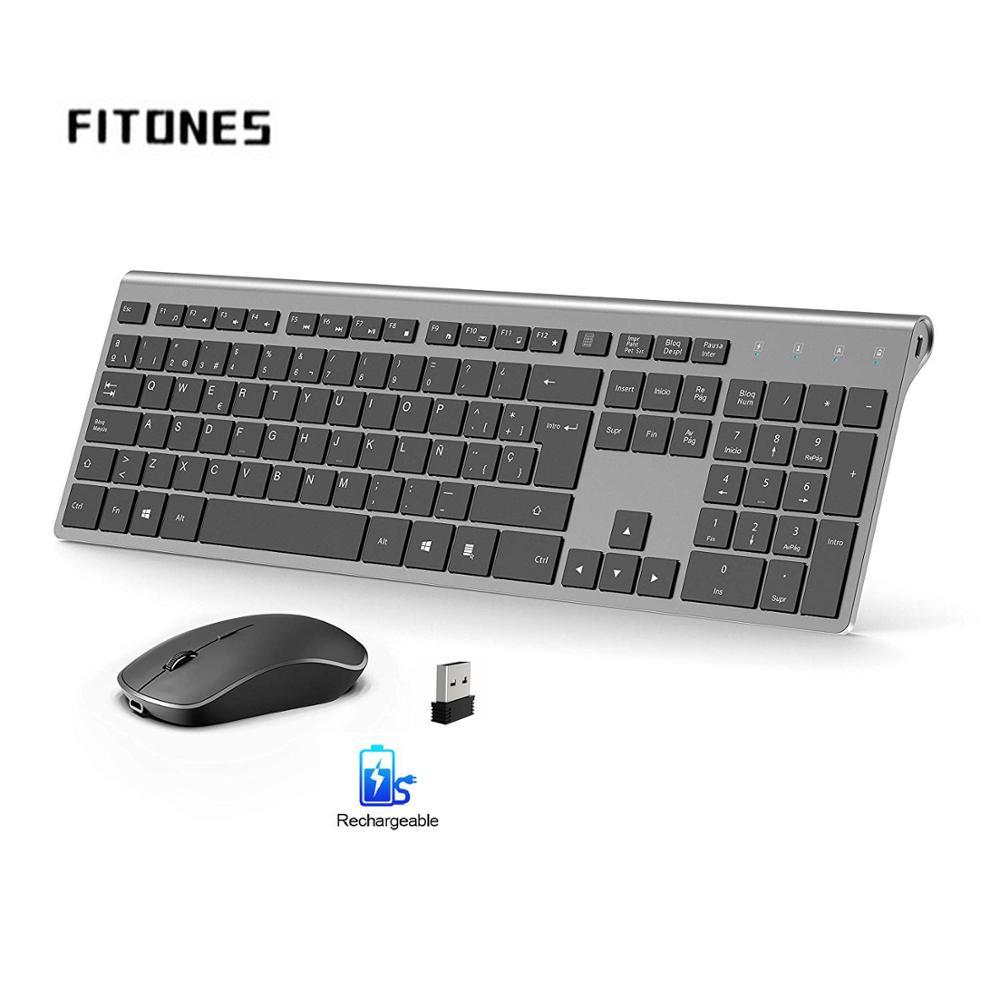 Беспроводная клавиатура и мышь, с испанской раскладкой, перезаряжаемый аккумулятор, стабильное USB соединение, подходит для ноутбука, компью...
