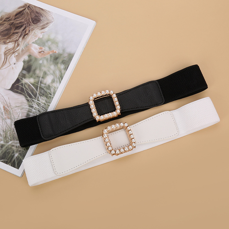 Belts For Women Designers New Pearl Buckle Pu Elastic Decoration Girdle Luxury Fashion High Quality Waist Black White Wide Belt