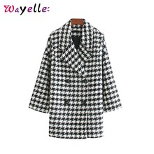Coats and Jackets Women Houndstooth Chic Pockets Double Breasted Long Sleeve Womens Style Tide Tops