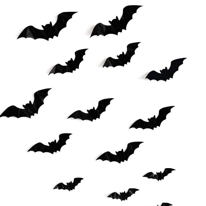 16 шт Хэллоуин 3D летучие мыши украшения ПВХ наклейки на окна стены искусства наклейки DIY Хэллоуин вечерние принадлежности