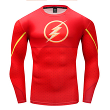 The Flash Captain America Spiderman T-Shirts 3D Printed compression Tee Men Avengers Fitness Men's Sportswear Tights Long sleeve