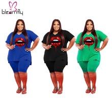 Outfits Tracksuit Biker-Shorts Plus-Size Women's And 5XL T-Shirt Two-Piece-Set V-Neck