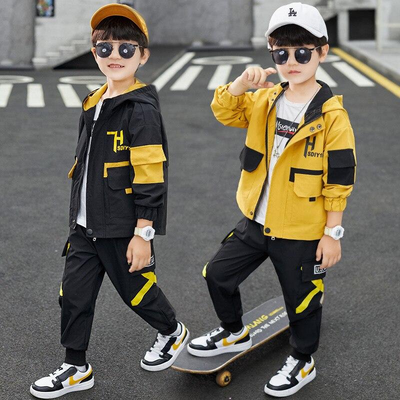 Automne enfants garçons tenues survêtement ensemble à capuche noir/jaune vestes + pantalon deux pièces Sport ensembles mode adolescent vêtements 4 8 12 ans