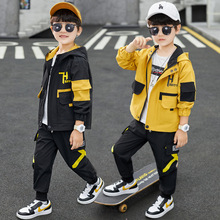 Autumn Kids Boys Outfits Jogger Set Hooded Black/yellow Jackets + Pants Two Piece Sport Sets Fashion Teenage Clothes 4 8 12Years