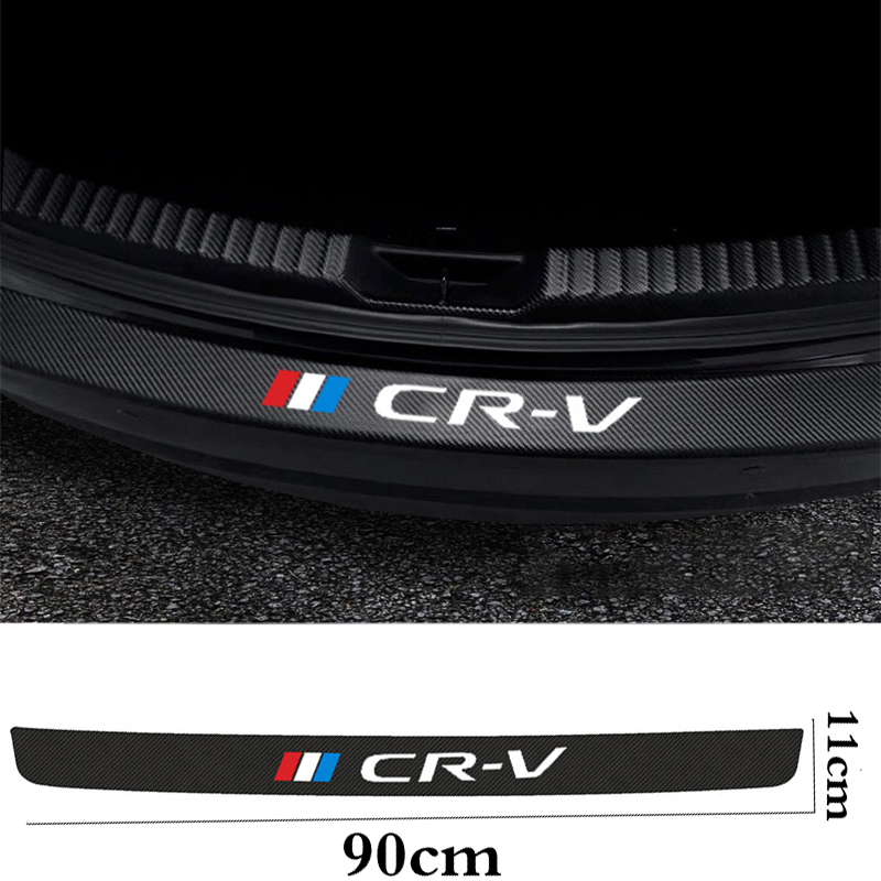 For honda crv 2008 2019 Car rear bumper leather decals carbon fiber protector car trunk protection plate film accessories|Interior Mouldings| - AliExpress