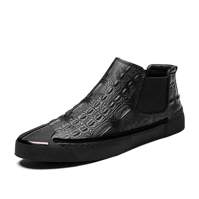 Nouveauté jeunes bottes décontractées pour garçon noir Chelsea bottes mâle en cuir véritable bottes d'hiver hommes chaussures plates confortables hommes