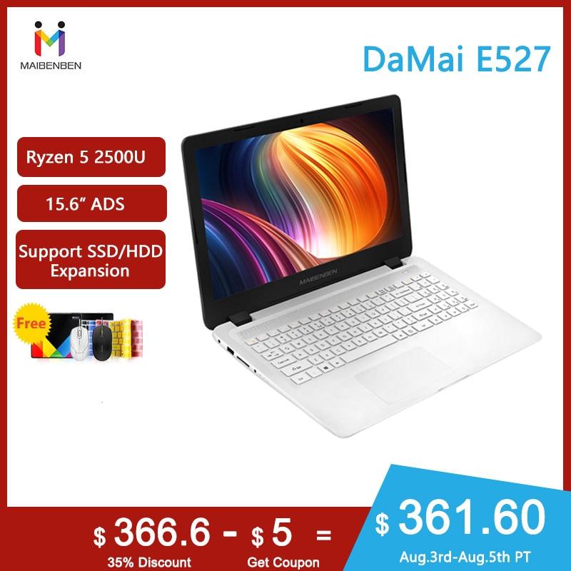 MAIBENBEN Laptop DaMai E527 15.6 inch ADS Screen / Ryzen 5 2500U / DDR4 RAM / SSD+HDD / Windows 10 / Silver White(China)