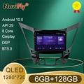 QLED 1280*720 Android 10,0 автомобильный Радио навигатор GPS плеер для Hyundai Sonata 6 YF 2009 - 2014 Восьмиядерный 6 ГБ + 128 Гб No 2 Din DVD