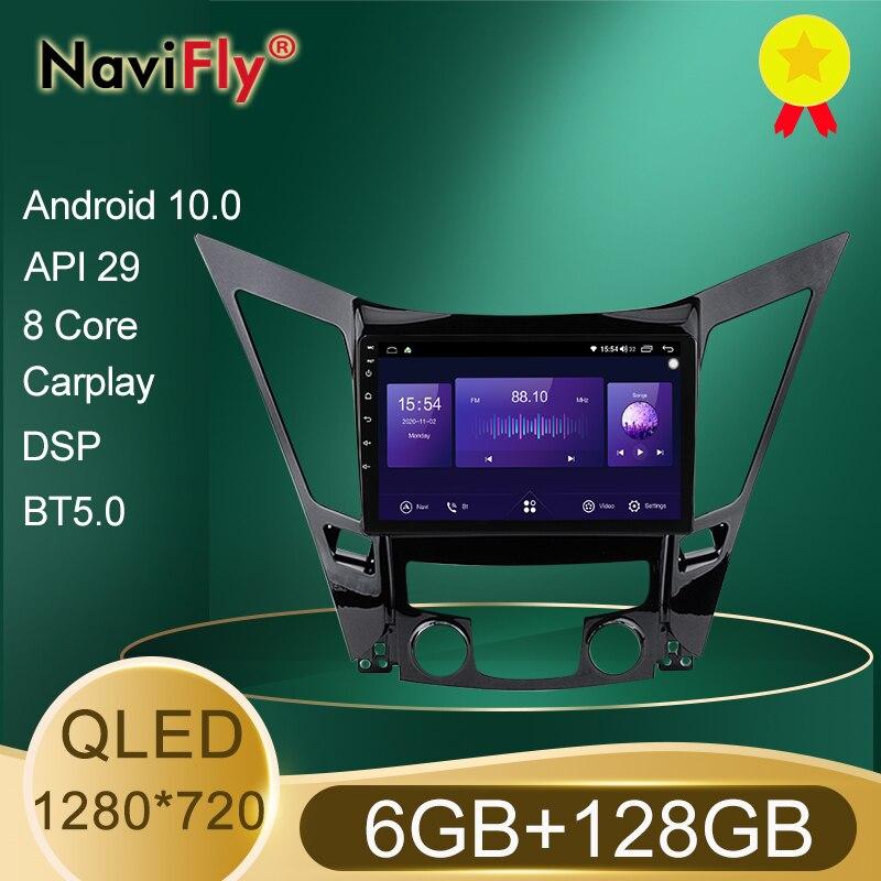 QLED 1280*720 Android 10.0 araba radyo navigasyon GPS oyuncu Hyundai Sonata 6 YF 2009 - 2014 Octa çekirdek 6GB + 128GB No 2 Din DVD