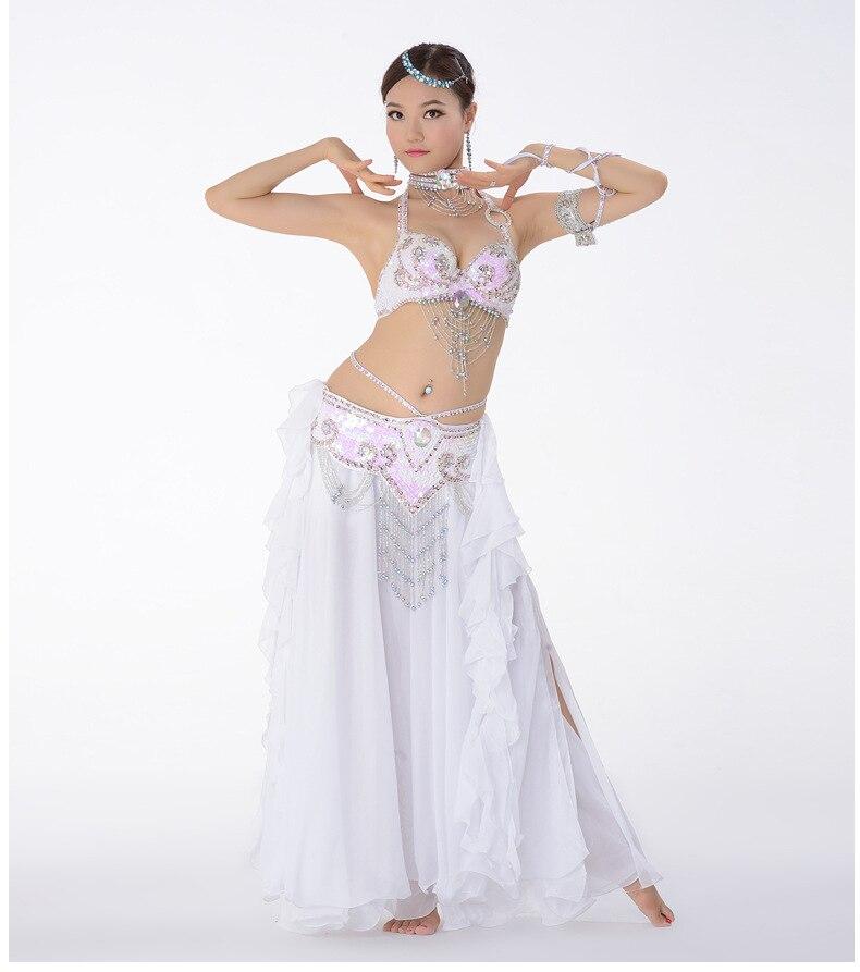 Костюм для танца живота, одежда для выступлений с бисером для женщин, костюмы для танца живота, бюстгальтер, пояс, юбка, комплекты одежды - Цвет: Зеленый