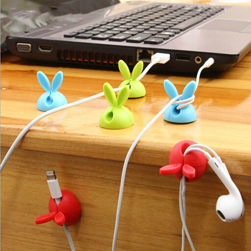 4pcs/lot Cute Rabbit Cable Holder Desk Cable Clips Organizer For Office Household Table USB Charger Cable Holder