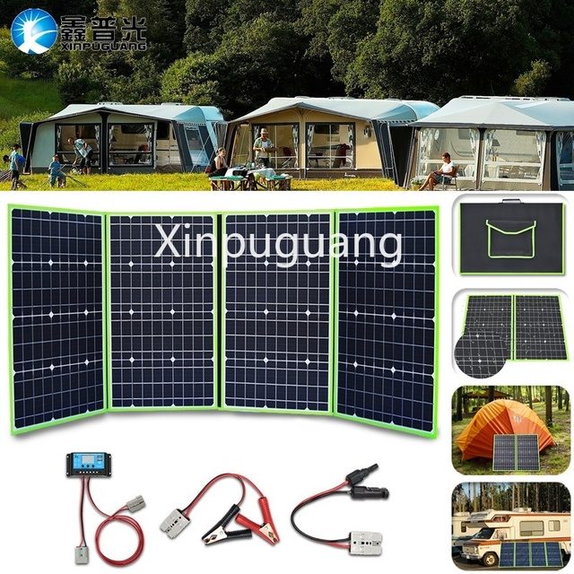 200W Flexible Foldable Solar Panel  + 12V Controller Battery Charger Portable Power Bank for Car Boat Camping Travel Hiking Home 1