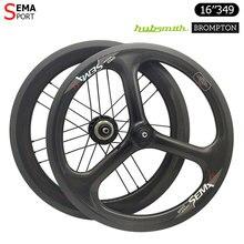 16in349 Brompton Sợi Carbon Wheelset SEMA 3 Nói Trispoke Hubsmith 2 Tốc Độ Fnhon Xe Đạp Mini Phụ Tùng Xe Đạp