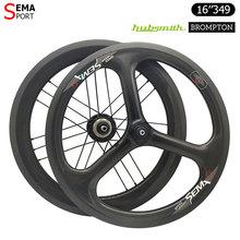 Brompton juego de ruedas de fibra de carbono para bicicleta, llantas de 2 velocidades, SEMA 3spoke trispoke Hubsmith, 16in349