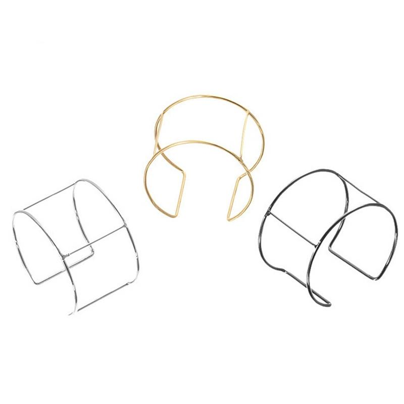 LOULEUR 6pcs/lot Diameter 6cm Metal Wire Blank Wide Cuff Bracelets Bangles Bases Settings For DIY Jewelry Making Findings 2019