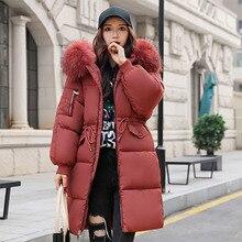 Zipper Loose Ladies Warm Fashion Drawstring Winter Outwear Hooded Long Sleeve Parkas