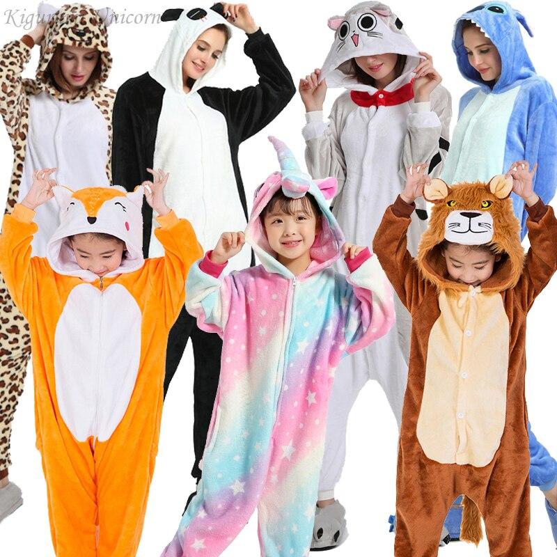 Kigurumi Unicorn Pajamas Adults Animal Stitch Onesies For Women Pajamas Suit Cartoon Winter Unicornio Nightie Pyjamas Sleepwear