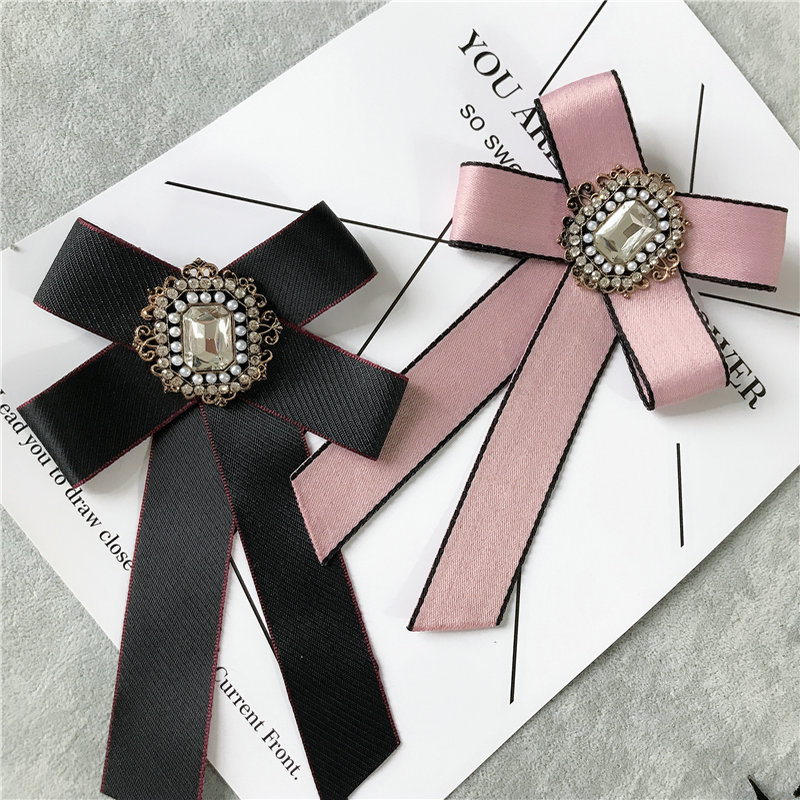 Men Women Wedding Party Shirt Neck Ribbon Pin Clip Bow Tie Cravat British Groom Pearl Bead Alloy Bling Rhinestone Crystal Bowtie