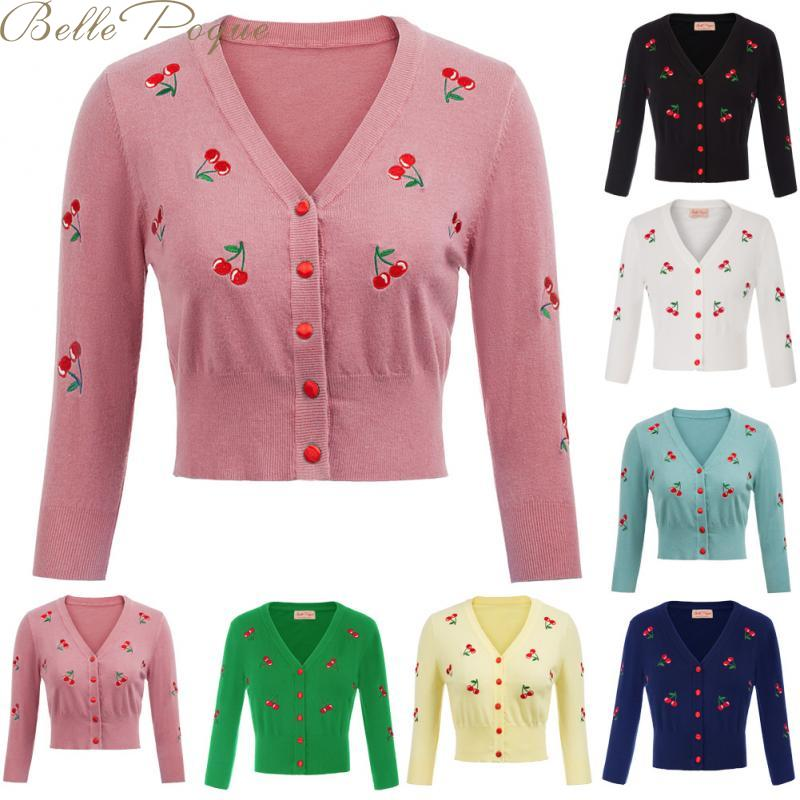 Belle Poque 10 Colors Spring Autumn Cardigan Women Cherries Embroidery Knitted Cardigans Casual Long Sleeve Tops Pull Sweater