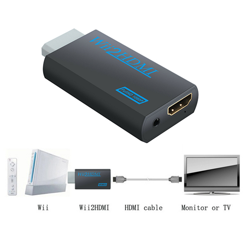3.5mm jack aux saída de vídeo de áudio completa hd 720p 1080 p wii para hdmi-adaptador conversor compatível para hdtv monitor de computador