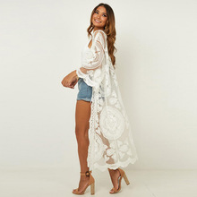 New Beach Cover up Kimono Swim suit Pareo de Plage Wear White Mesh Embroidery Shirt Top
