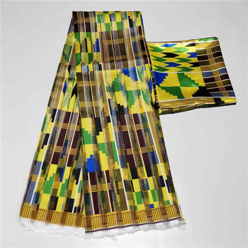 뜨거운 판매가 나 스타일 새틴 실크 직물 organza 리본 및 새틴 아프리카 왁 스 디자인 (dhl에 대 한 3pcs)!