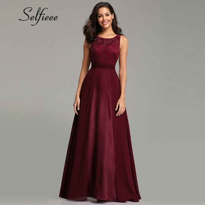 New Year Women Dresses Long 2019 Sexy A line Sleeveless O neck Chiffon Lace Summer Beach Dress Elegant Burgundy Party Gowns in Dresses from Women 39 s Clothing