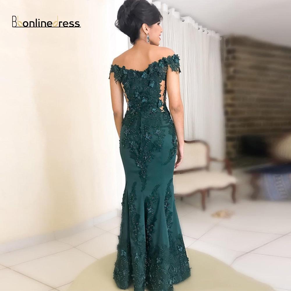 Party-Dress Elegant Green Evening Dress 3D Flower Lace Evening Dresses Long Off The Shoulder Split Formal Gowns vestido