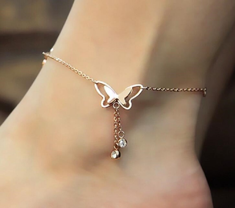 Butterfly Pendant Anklets Foot Chain Summer Yoga Beach Leg Bracelet Handmade Anklet Rose Gold Silver Color Jewelry