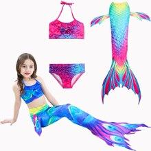 3 шт./компл. для маленьких девочек, комплект бикини с хвостом русалки с ребром купальный костюм для детей Детское платье принцессы пляжный купальник для косплея
