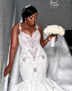 Image 3 - Luxury African Mermaid Wedding Dresses Plus Size 2020 robe de mariee Beaded Crystal Lace Wedding Gowns Custom Made Bridal Dress