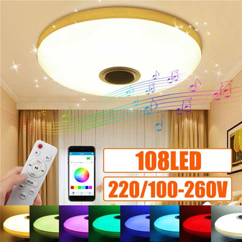 teto rgb bluetooth lâmpada de alto-falante 108led