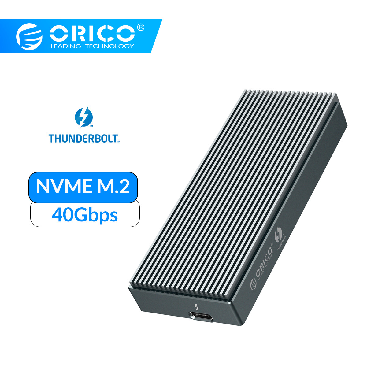 ORICO Thunderbolt 3 NVME M.2 SSD Enclosure Support 2TB Aluminum SSD Case USB C With 40Gbps Thunderbolt 3 C To C Cable