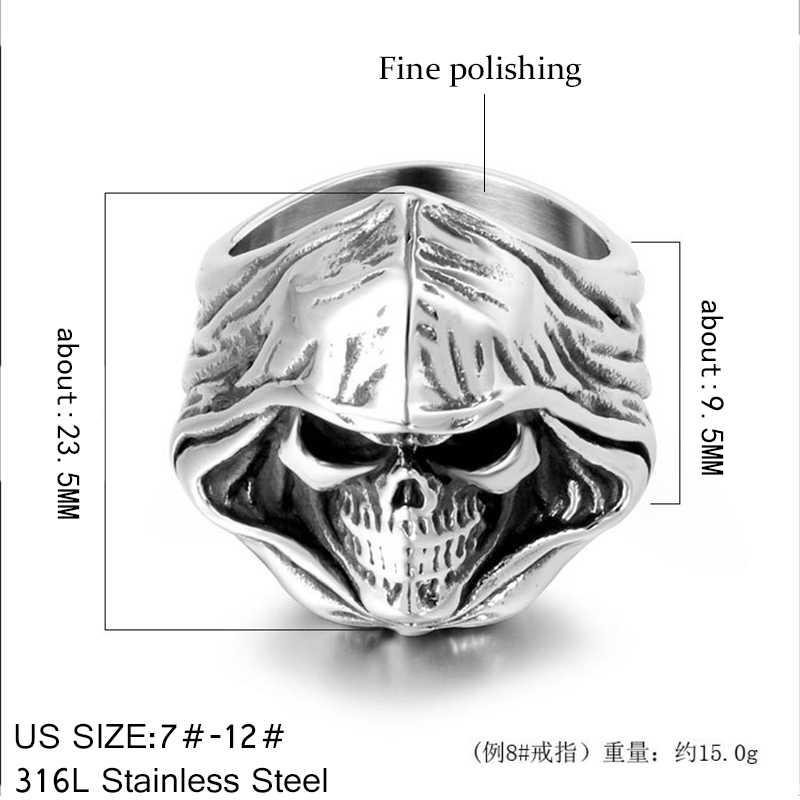 Anéis de dedo frescos originais do crânio para homens e mulheres presente da jóia do punk dos homens Anel de motociclista pesado em aço inoxidável Acessórios de jóias de alta qualidade 2020